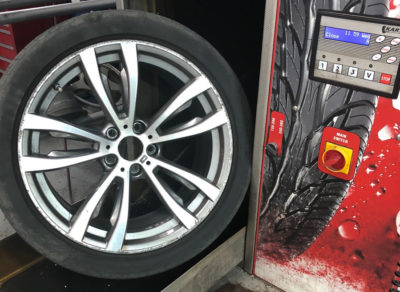 Wheels are cleaned using a non-corrosive chemical, before being prepared for paint.